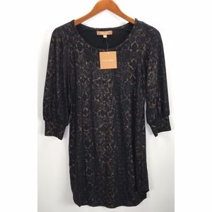 Ellen Tracy Snake Print Tunic Blouse Top NWT $70